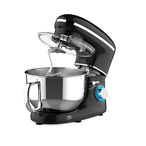 Heska -1500W Food Stand Mixer - 4-in-1 Beater/Whisk/Dough Hook/Flex Edge Beater - 5.5 Litre Mixing Bowl with Splash Guard (Black)