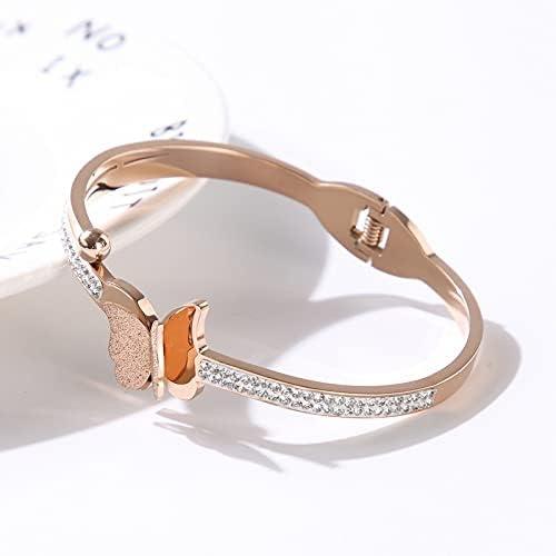 zhongbao Elegant Luxury Butterfly Crystal Stainless Steel Bracel Bangles Max 41% OFF