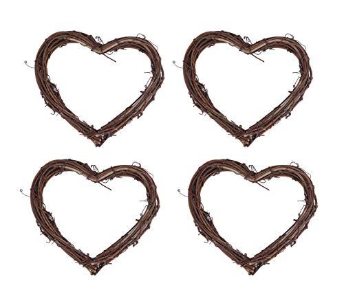 YYCRAFT Natural Grapevine Heart Wreaths Valentine Miniature Holiday Decor Bridal Shower Wedding (8 Inch, 4 Pack)