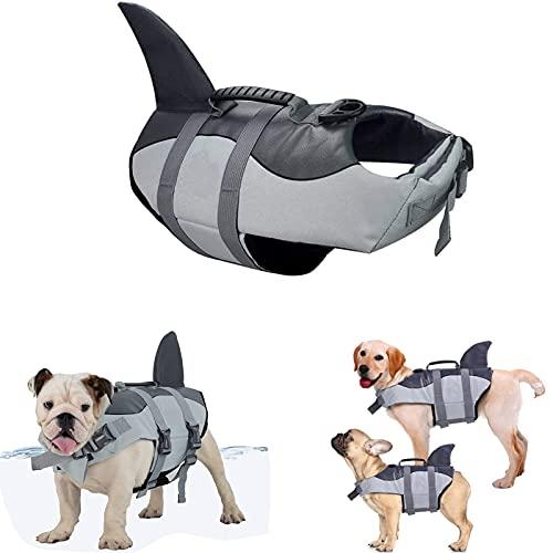 KXHWSH Chaleco Salvavidas para Perros- Ajustable Seguridad Natación Chaleco para Mascotas con Mango De Rescate- Adecuado para Cachorros Pequeños/Medianos/Grandes (S M L)