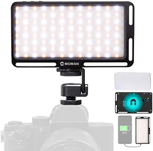Moman Videoleuchte Kamera mit Diffusor, 180 LED, 3000K-6500K Taschengröße Dimmbare Videolicht, CRI96+ Panel Videolampe Klein Mini mit Magnet Eingebaute Batterie Dauerlicht für DSLR Sony Canon Nikon