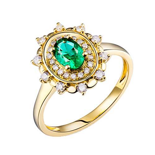 Daesar Anillos de Oro Amarillo de 18 Kilates Mujer,Flor con Oval Esmeralda Verde 0.5ct Diamante 0.24ct,Oro Verde Talla 21