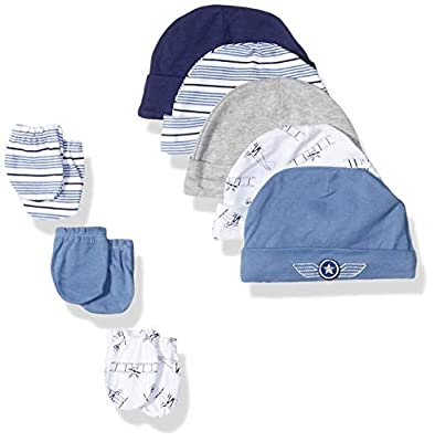Hudson Baby Unisex Cotton Cap and Scratch Mitten Set, Aviation, 0-6 Months