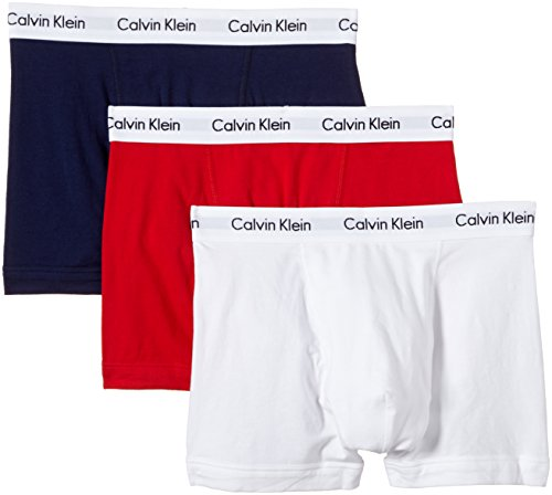 Calvin Klein Herren - 3er-Pack mittlere Taille Hüft-Shorts - Cotton Stretch, Mehrfarbig (White/Red/Pyro Blue), L