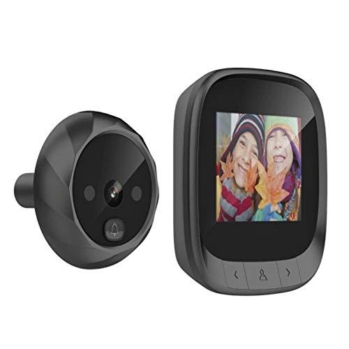 Semoic - Pantalla LCD de 2,4 pulgadas, visor digital para puerta con mirilla y timbre de 90 grados, visión nocturna por infrarrojos, visión nocturna digital