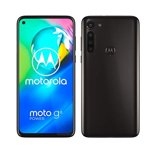Motorola Moto G8 power 6.4 Inch FHD+ zero-notch display, Qualcomm Snapdragon SD665, 16MP main camera, 2MP macro camera, 5000 mAH battery, Dual SIM, 4/64GB, Android 10, Smoke Black