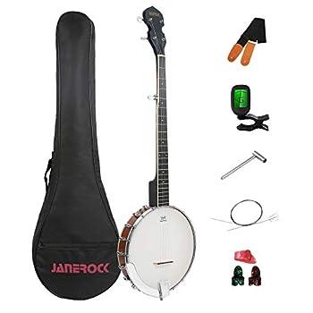 Banjo,5 String Banjo Adjustable Bracket Remo Head Open Back Banjo with Beginner Banjo Kit,Gig Bag,Extra String,Banjo Strap,Tuner