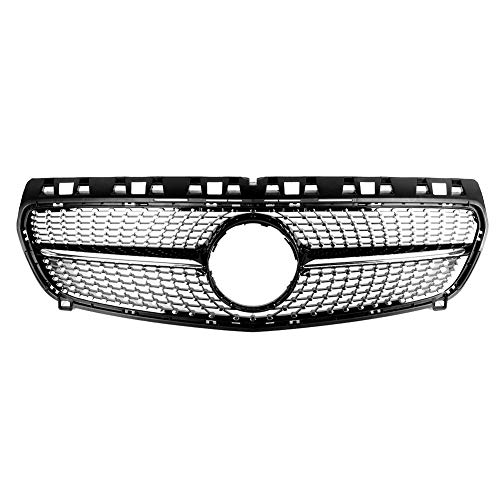Yctze Grill, ABS Frontgrill Diamond Grille Fit für W176 2013-2015 (Bright Black)