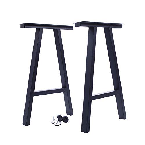 FPLX Metall-Tischbeine aus Eisen, Möbelbeine im Industrie-Stil, Back-Finish, Esstischbeine, 2 Stück, schwarz, 71,1 cm H x 45,9 cm B