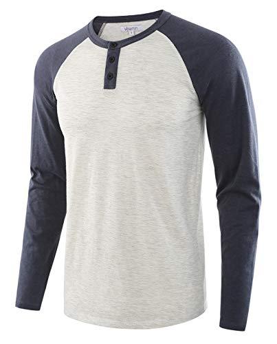 Vetemin Men's Casual Vintage Long Sleeve Raglan Henley Shirts Baseball T-Shirt H.Oatmeal/C.Blue XL