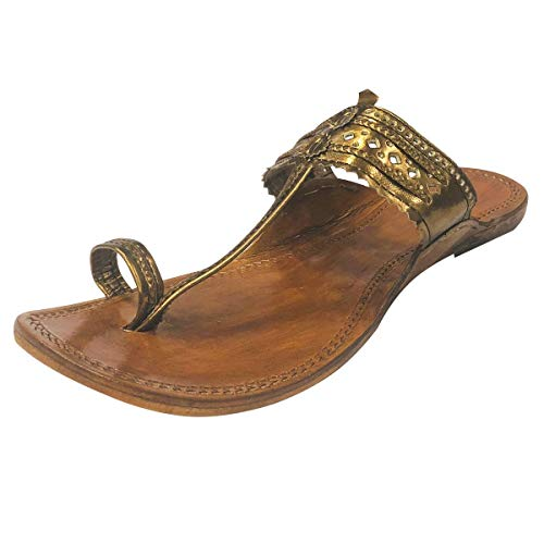 Step n style, sandali in pelle, stile indiano, fatti a mano, sandali Kolhapuri, Mojadi, Jutti, Kurti, marrone (Dark Copper), 40