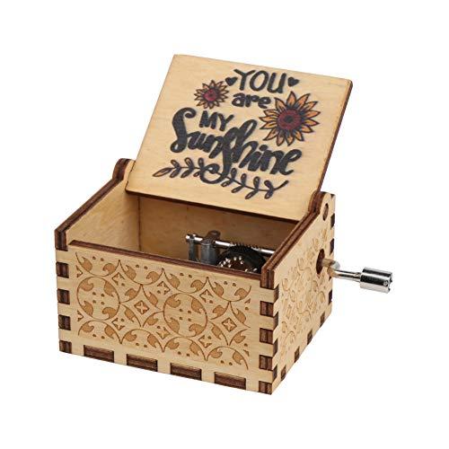 """Vegena Hölzerne Handkurbel """"You Are My Sunshine"""",Musikkästchen aus Holz, Hölzerne Spieluhr, Antike Geschnitzte Hölzerne Handkurbel-Spieluhren Vintage-Box, Kinder, Freunde"""