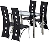 Elroyin 5 Pieces Dining Table Set Black Dining Table and 4 Chairs Set Kitchen Dining Table Set w/Glass Top,Black