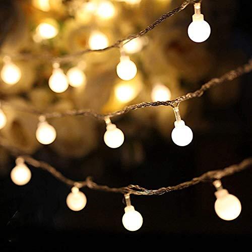 LED Lichterkette Außen, BIGHOUSE 5M 50 LEDs Warmweiße Lichterkette Aussen mit Stecker, 8 Modi, Wasserdichte IP44, Kugel Lichterkette für Innen Dekoration, Feste, Garten, Balkons, Partys, Hochzeiten