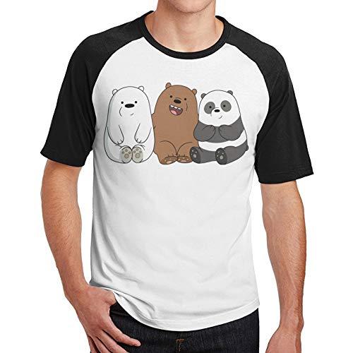 We Bare Bears - Camiseta de béisbol de manga corta para hombre, color negro