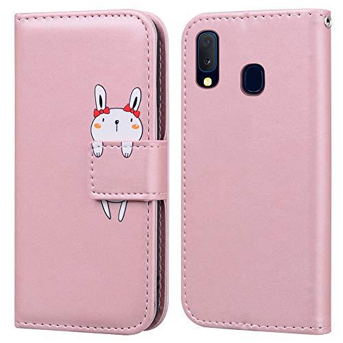 Ailisi Samsung Galaxy A20e Hülle, Karikatur Weiß Rabbit Muster Leder Handyhülle Brieftasche Schutzhülle Leder Flip Hülle Wallet Cover Klapphüllen Tasche Etui mit Kartenfächern+Stand -Hase, Pink