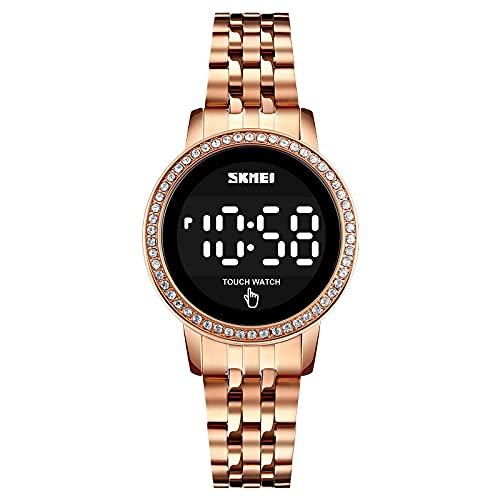 Reloj de pulsera dorado para mujer, redondo, clásico, digital, cuarzo, acero inoxidable, resistente al agua, retroiluminado, para relojes de mujer, Oro rosa., 210 mm lang, Pulsera