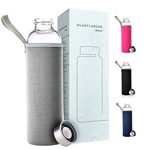 PaWa Glasflasche 550ml Grau - BPA Freie Trinkflasche aus Glas - Auslaufsichere Sportflasche für unterwegs - Glas Wasserflasche für Kinder und Erwachsene - Glastrinkflasche mit Gratis Ersatzdichtung