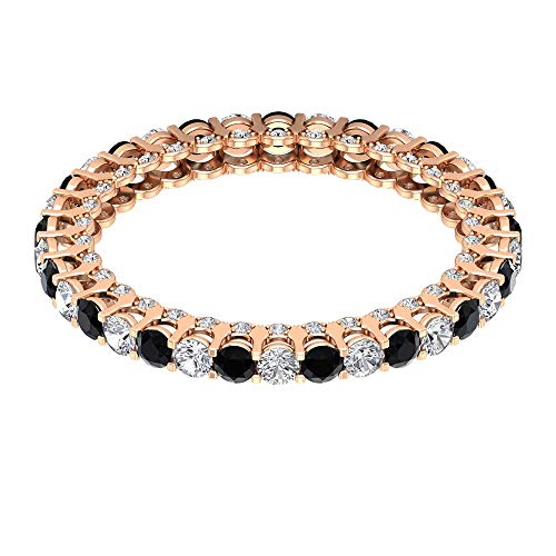 Anillo de compromiso con diamante negro de 1/2 ct certificado de 2 mm, con piedras preciosas alternadas, anillo de boda de diamantes antiguos, 14K Oro rosa, Size:EU 59