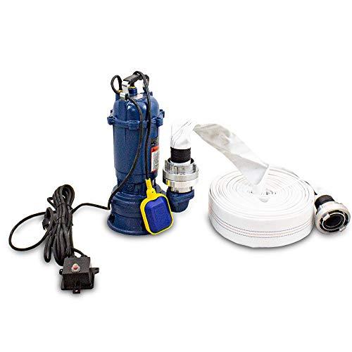 BITUXX® 1100W Tauchpumpe Schmutzwasserpumpe für Brunnen Zisterne Bewässern Garten Pool bis 22800 Liter/h 2 Zoll Förderhöhe 10 Meter inklusive 30 Meter Schlauch