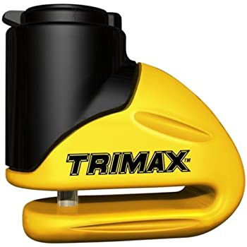 Trimax T645S Hardened Metal Disc Lock 5.5mm Pin, Short Throat with Pouch and Cable, yellow