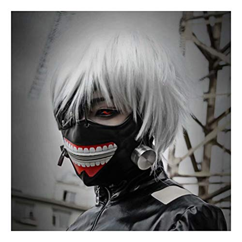 COSPLAZA Verstellbarer Reißverschluss Schwarz PU Leder Vampir Maske, Silber Cosplay Perücken (1 Perücke, 1 Maske)
