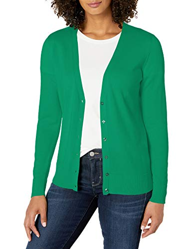 Amazon Essentials Women's Classic Fit Lightweight Long-Sleeve V-Neck Cardigan Sweater, Green, Large