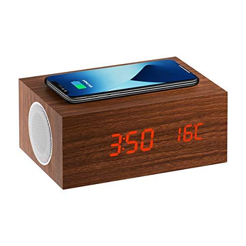 Sarsen&Co. Intelligent träklocka väckarklocka med trådlös mobiltelefon laddning, termometer och röstkontroll högtalare box Bluetooth 5.0 IP5X vattentät design 5W (kastanj brun med DC 4.0 laddkabel)