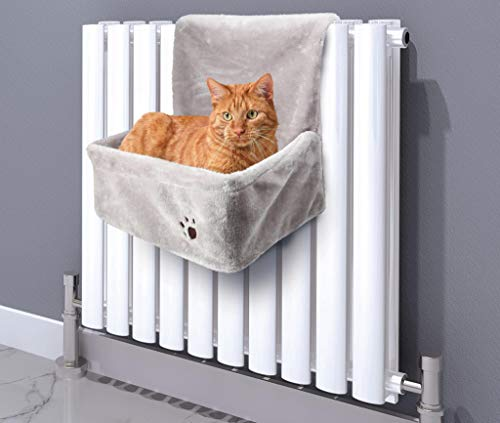 ADEPTNA Premium Super Soft Plush Cuddly Hanging Cushion Cat Radiator Bed with Strong Durable Frame to Hook on Radiator – Ideal for all Cats Kittens up to 10Kgs – Keep your Pet Warm and Cosy