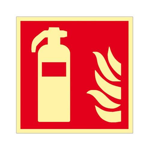 Feuerlöscher - Schild ISO 7010 Kunststoff nachleuchtend 200 x 200 mm