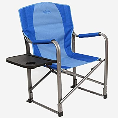 Kamp-Rite KAMPCC106 Director's Chair Outdoor Furniture Camping Folding Sports Chair with Side Table and Cup Holder, 2 Tone Blue