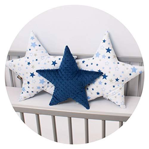 3 Pack PALULLI Kissen Set Stern Sternchen Zierkissen ø 40cm u. 2 x ø 50cm Kinderzimmer Zimmer Deko Sternkissen Baby Dekokissen mit Füllung für Schlafzimmer Babyzimmer Kinderbett (MILKYWAY)