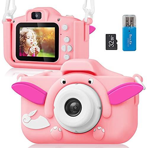 ELEPOWSTAR Kinderkamera, Digitalkamera 2,0 Zoll für Jungen Mädchen mit HD 1080P Videorecorder und 32 GB SD Spielzeug Geschenk für 3-10 Jahre alte (Rosa)