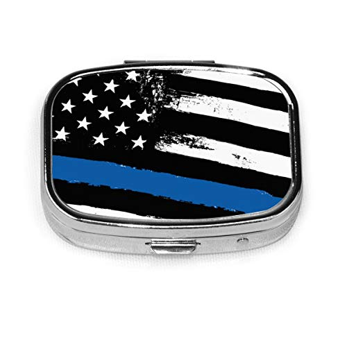 Dünne Blaue Linie Flagge Polizei Benutzerdefinierte Fashion Square Pillendose Tablet Halter Tasche Geldbörse Organizer Fall Dekoration Box