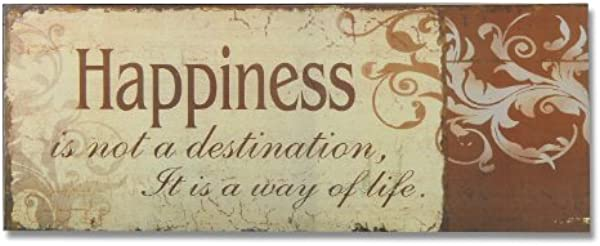 Adeco Decorative Wood Wall Hanging Sign Plaque Happiness Burnt Orange Beige Home Decor 14 9x5 9 Inches