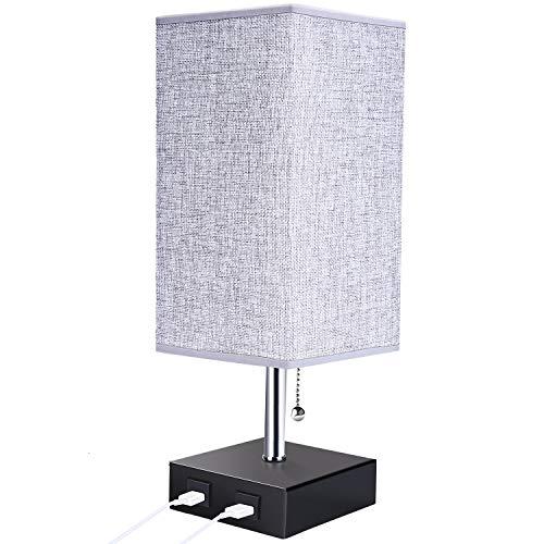 Lightess Lámpara Mesa de Noche LED, USB Dual Interruptor Dual Luz Mesita E27 Pantalla de Tela Gris Lámpara Escritorio Vintage para Dormitorio, Estudio, Salón, Café, Cuadrado