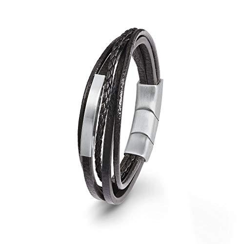s.Oliver Herren Leder-Armband schwarz Edelstahl matt mehrreihig 20+1,5cm inkl Wunschgravur