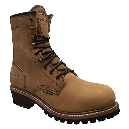 Ad Tec 9in Mens Logger Waterproof Crazy Horse Leather Work Boots, Brown - Smooth Lining and Shock Absorbing Non Slip Rubber Lug Sole
