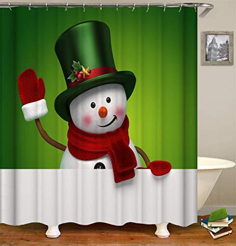 ZZZdz schattige sneeuwpop muts sjaal. Huisdecoratie. Douchegordijn. 180 x 180 cm. 12 vrije haken. 3D Hd-druk. Rijke patronen.