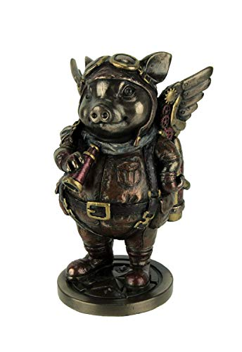 Steampunk Aviator Figura de Cerdo Volador en Tono Bronce, 5 1/4 Pulgadas