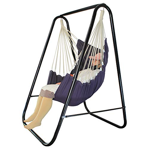 PIRNY Hammock Chair with Stand Hanging Padded Swing,Easy to Assemble Study MAX Capacity up to 500 LBS,Resistant Sturdy Metal Stand for Porch Patio Garden Swing Sets for Backyard(Grey)