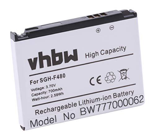 vhbw Akku passend für Samsung SGH-F480i, SGH-F480v, SGH-F 480i i v Handy Smartphone Handy (700mAh, 3.7V, Li-Ion)