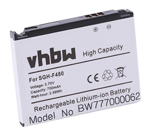 vhbw Akku passend für Samsung SGH-F480i, SGH-F480v, SGH-F 480i i v Handy Smartphone Telefon (700mAh, 3.7V, Li-Ion)