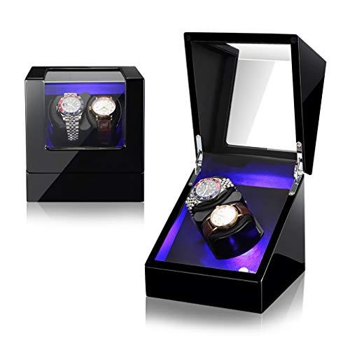 Big seller Uhrenbeweger Doppel Automatik Uhrenbeweger Box Holz Aufbewahrungskoffer für 2 Armbanduhren, 5 Rotationsmodi und leisen Motor, LED Umgebungslicht, Geschenk (Color : C)