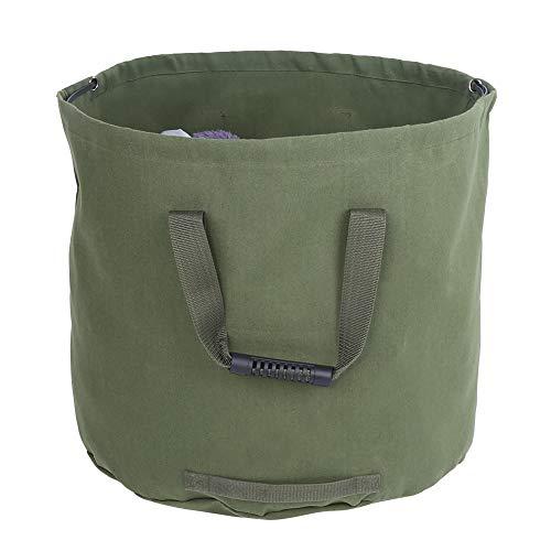 Changor Bolsa de Basura cómoda, Bolsas de Basura de jardín multifuncionales Reutilizables de Gran Capacidad Interna con Lona para Uso a Largo Plazo. (Verde)