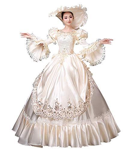 Rokoko Barock Marie Antoinette Ballkleider 18. Jahrhundert Renaissance Historische Periode Viktorianisches Kleid für Damen - - X-Large :Höhe 65-67 Bust 42-43 Taille 33.5-35