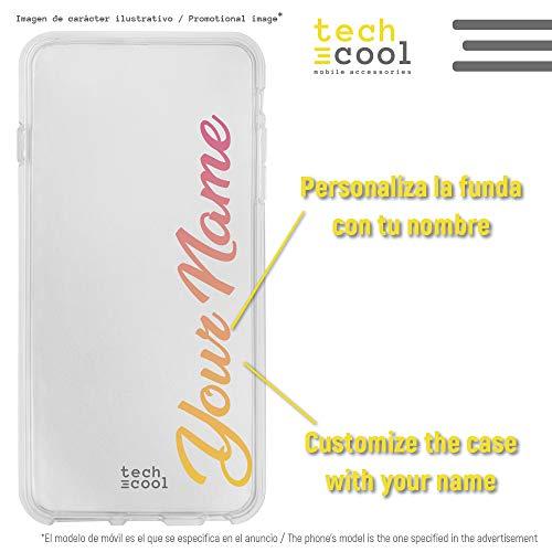 Funnytech® Funda Silicona para LG G6 [Gel Silicona Flexible, Diseno Exclusivo] Nombre Degradado Naranja Rosa Personalizable