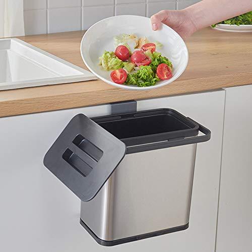 Cubo de basura de cocina 3L Cubo de basura montado en la pared de acero inoxidable para oficina Cocina Baño Dormitorio Remolque Lavadero