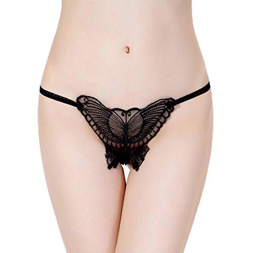 xbowo-Appeal Erotische Dessous Set Frauen Höschen Sexy Unterwäsche G String Tangas T Zurück Aushöhlen Schmetterling Stickerei G-Strings-Black_One_Size