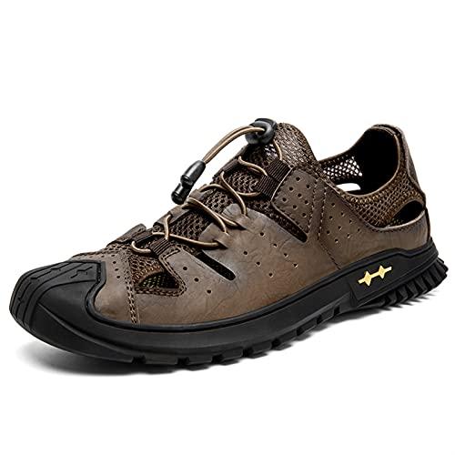 ZH~K Sandalia de Senderismo para Hombre Casual Hecho a Mano Corte de Zapatos con Costuras de Cuero Tela de Malla de Malla Sin Punta Zapatillas Bungee Lacing Brown (Color : Dark Brown, Size : 39 EU)